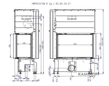 Конвекционная топка Romotop Impression R/L 2g L 83.60.34.21 темный шамот
