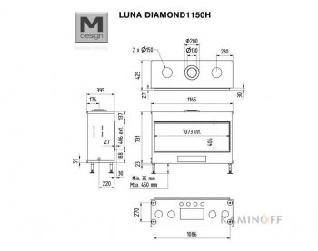 Газова камінна топка M-Design Luna Diamond 1150H Gas