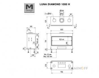 Газова камінна топка M-Design Luna Diamond 1000H Gas