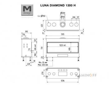 Газовая топка M-Design Luna Diamond 1300H Gas