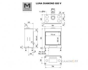 Газова камінна топка M-Design Luna Diamond 850V Gas
