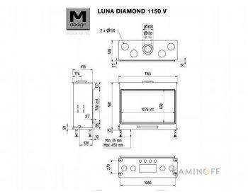 Газовая топка M-Design Luna Diamond 1150V Gas