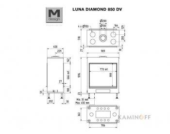 Газовая топка M-Design Luna Diamond 850DV