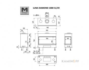 Газова камінна топка M-Design Luna Diamond 1000 CL/CR