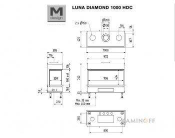 Газовая топка M-Design Luna Diamond 1000 DC GAS