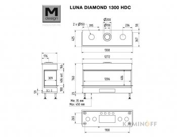 Газова камінна топка M-Design Luna Diamond 1300 DC GAS