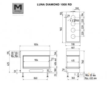 Газовая топка M-Design Luna Diamond 1000 RD Gas