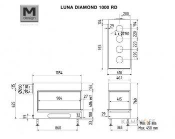 Газова камінна топка M-Design Luna Diamond 1000 RD Gas
