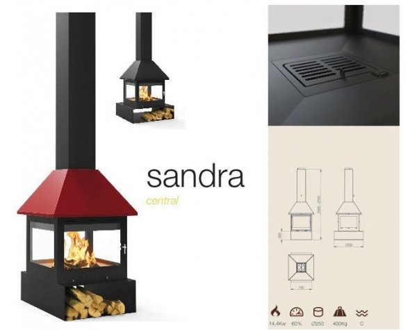 Дизайнерский камин Traforart Sandra Central color ral