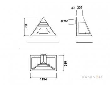 Дизайнерский камин Traforart Admeto Frontal заднее подключение к дымоходу