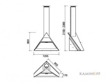 Дизайнерский камин Traforart Admeto Corner с настенной опорой