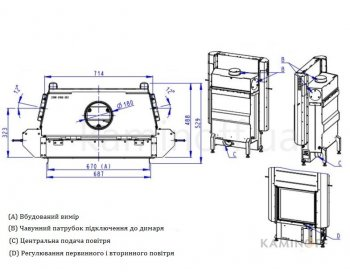 Конвекционная топка Romotop Impression 2g L 67.60.01светлый шамот