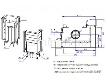 Конвекционная топка Romotop Impression R/L 2g L 58.60.34.21 светлый шамот