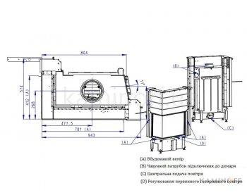 Конвекционная топка Romotop Impression R/L 2g L 71.60.34.21 темный шамот