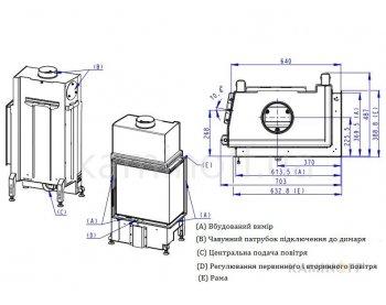 Конвекционная топка Romotop Impression R/L 2g S 58.60.34.21 светлый шамот