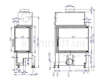 Конвекционная топка Romotop Impression R/L 2g S 71.60.34.21 светлый шамот