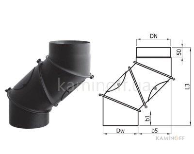 Дымоход из черной стали Darco колено регулируемое, 4 сегмента