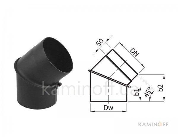 Дымоход из черной стали Darco колено 45 регулируемое