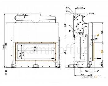 Топка с водяным контуром Brunner Architektur 45/101 с бойлером