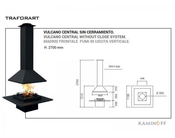Дизайнерський камін Traforart Vulcano Central відкрита система